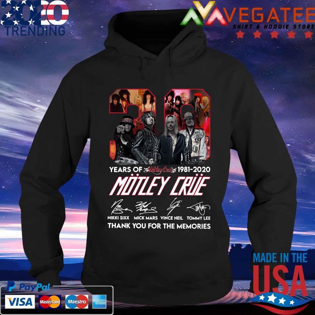 39 years of 1981 2020 Motley Crue thank You for the memories signature s Hoodie