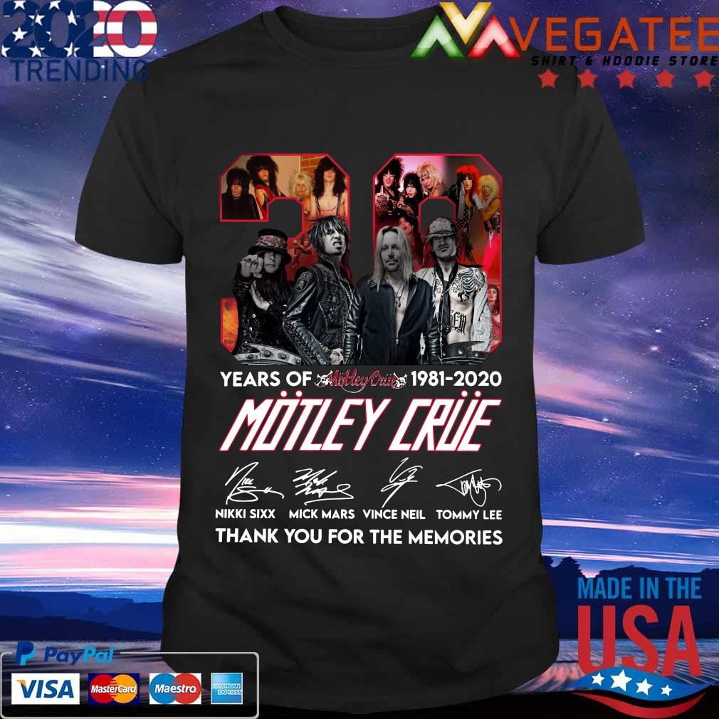 39 years of 1981 2020 Motley Crue thank You for the memories signature shirt