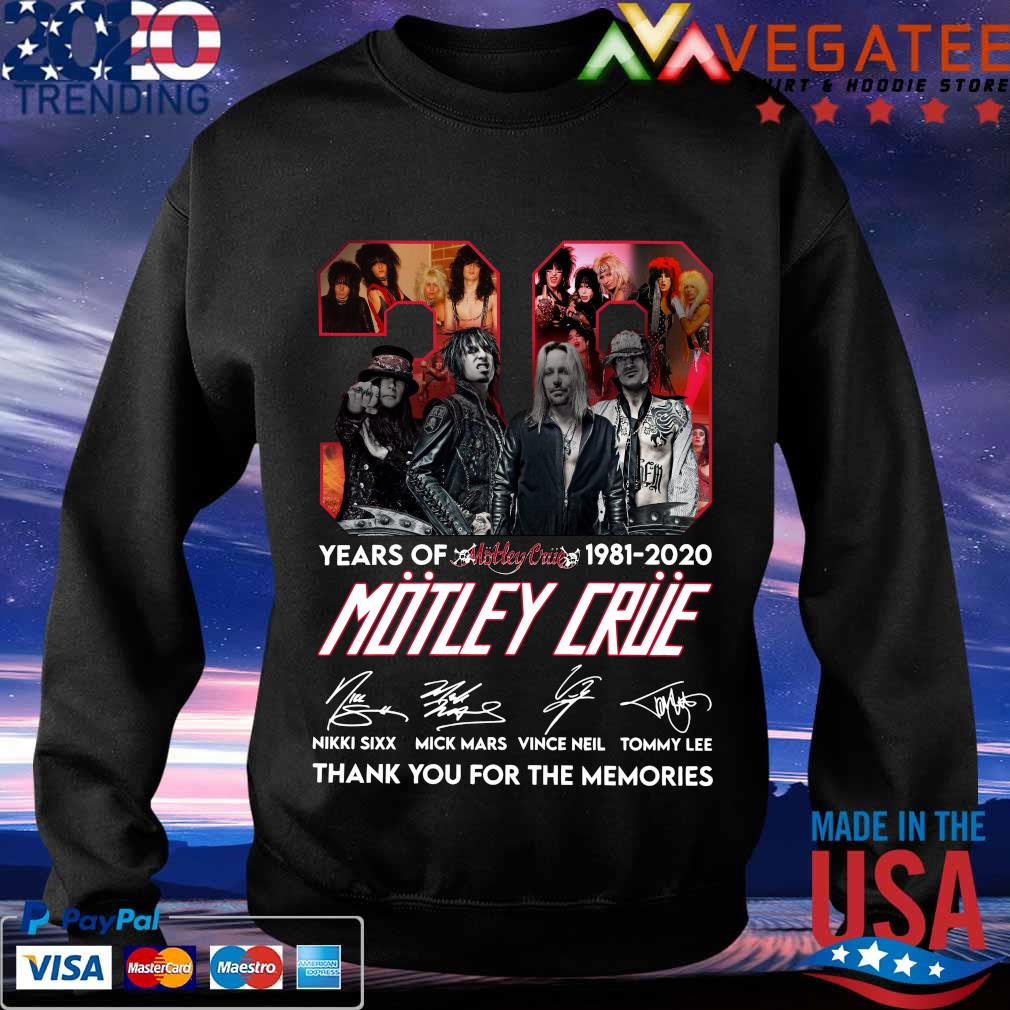 39 years of 1981 2020 Motley Crue thank You for the memories signature s Sweatshirt