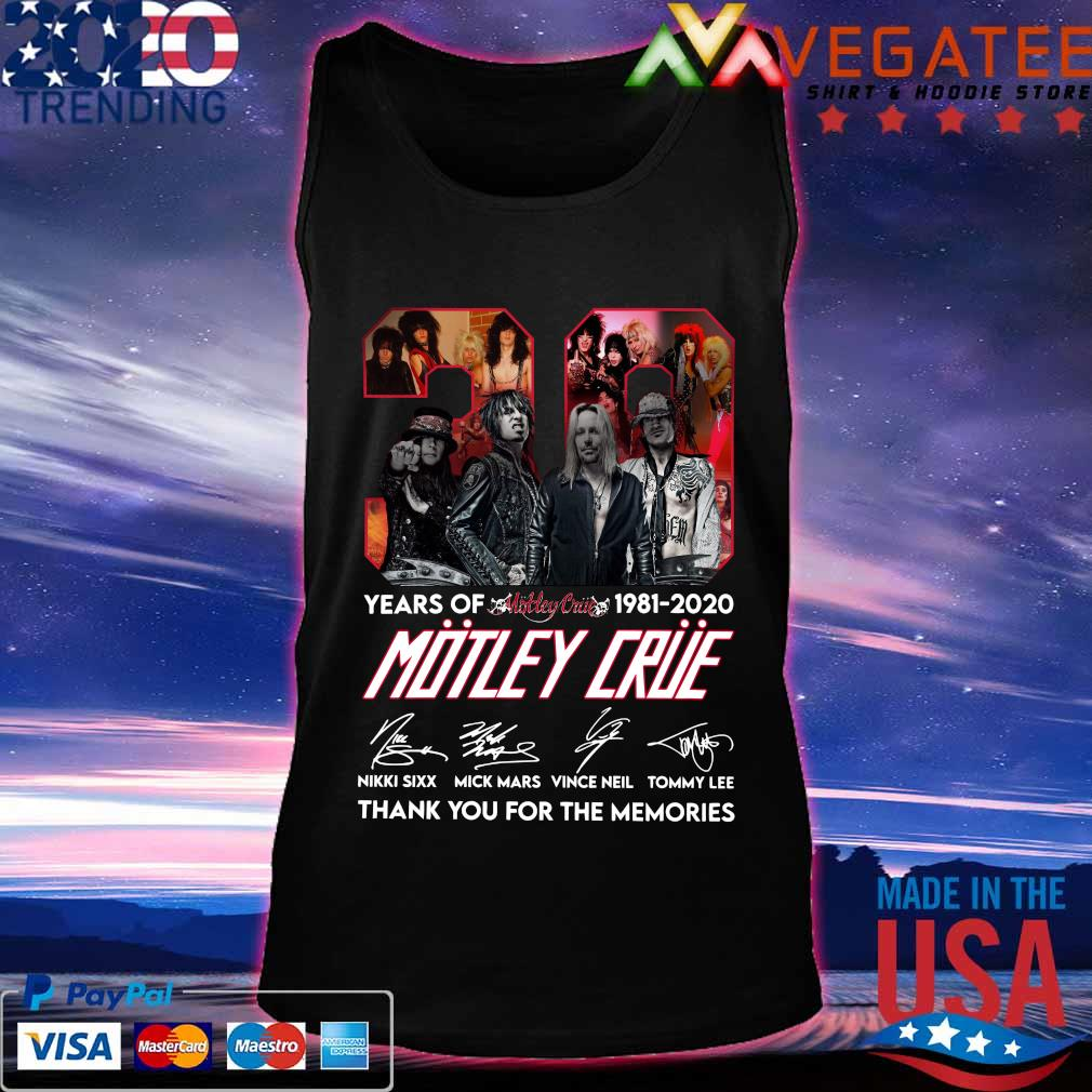 39 years of 1981 2020 Motley Crue thank You for the memories signature s Tanktop
