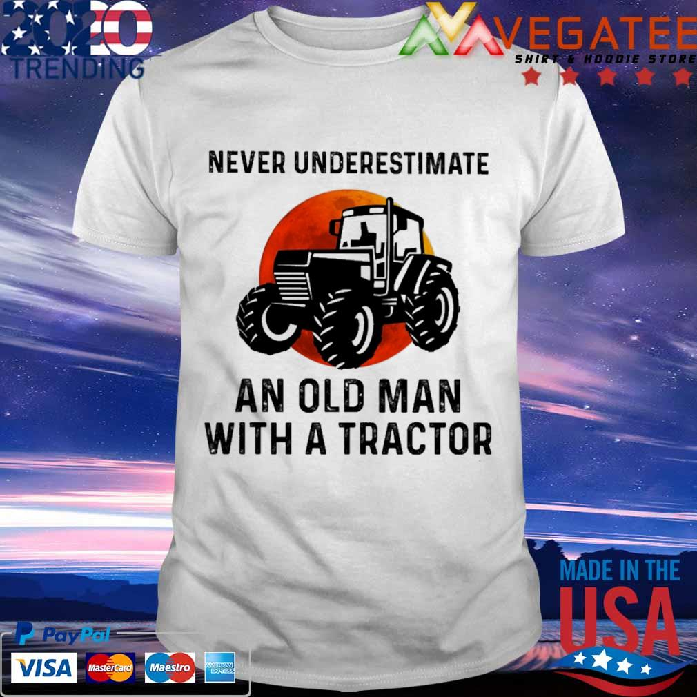 Never underestimate an old man with a tractor sunset shirt