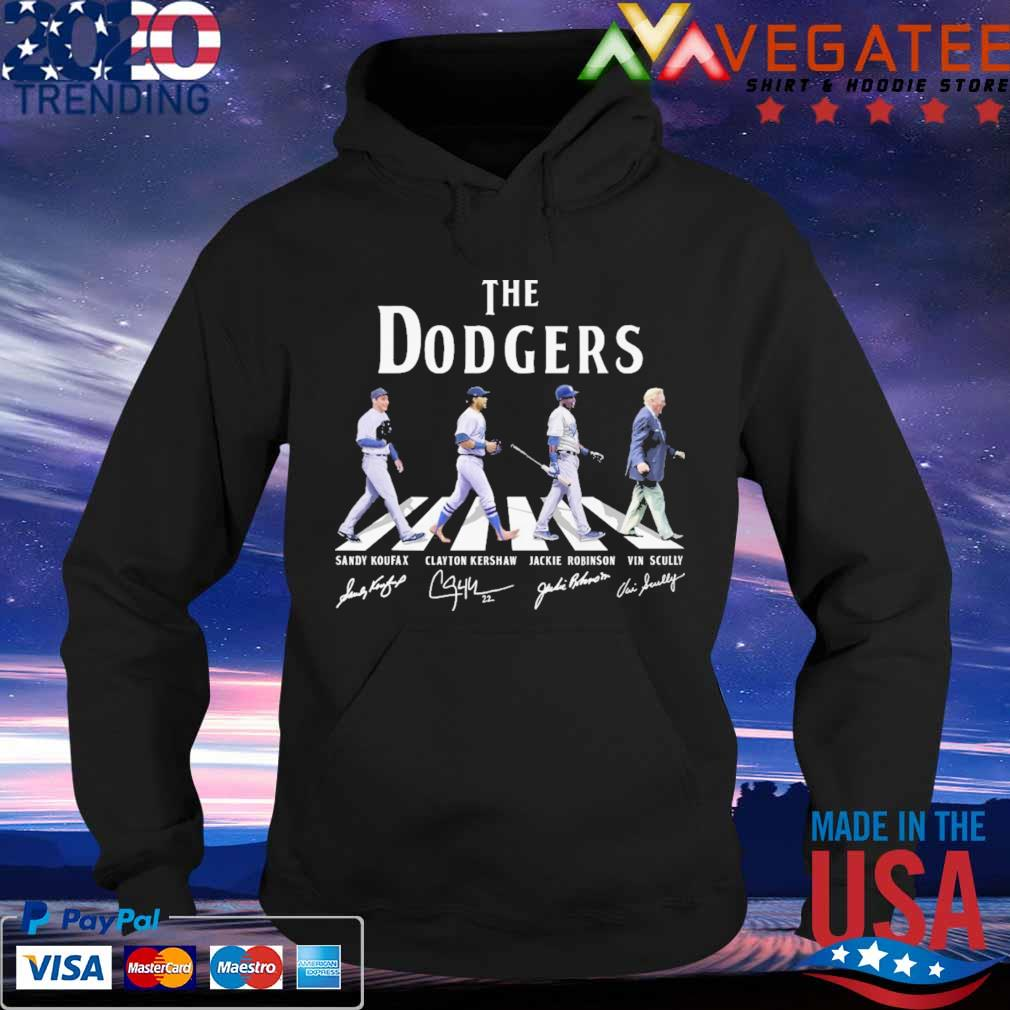 The Dodgers Sandy Koufax Clayton Kershaw Jackie Robinson Vin Scully signatures road s Hoodie