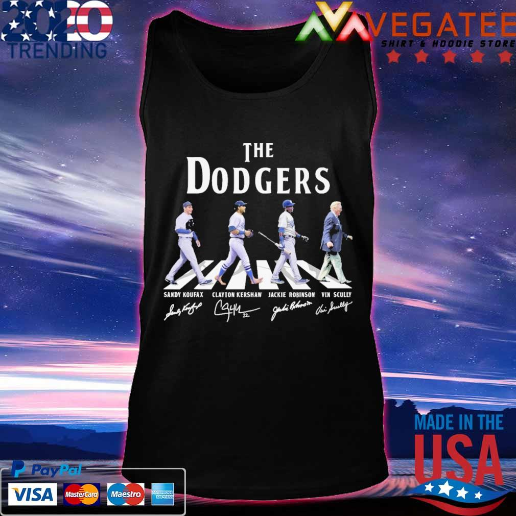 The Dodgers Sandy Koufax Clayton Kershaw Jackie Robinson Vin Scully signatures road s Tanktop