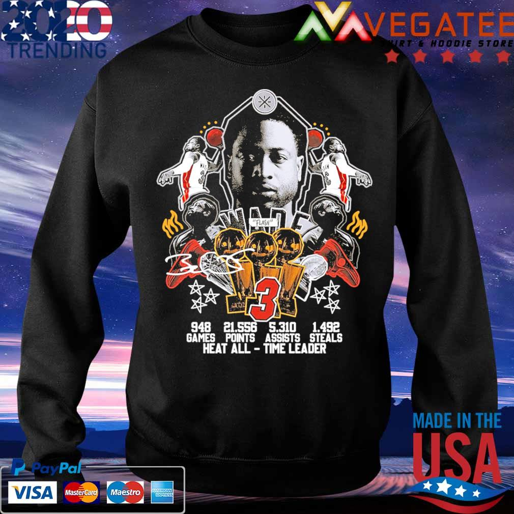 #3 Wade Basketball games points steals heat all time leader signature s Sweatshirt