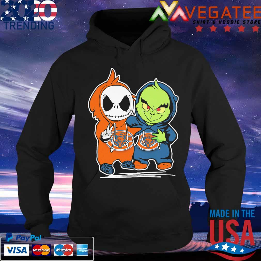 Baby Jack Skellington and Baby Grinch Chicago Bears s Hoodie