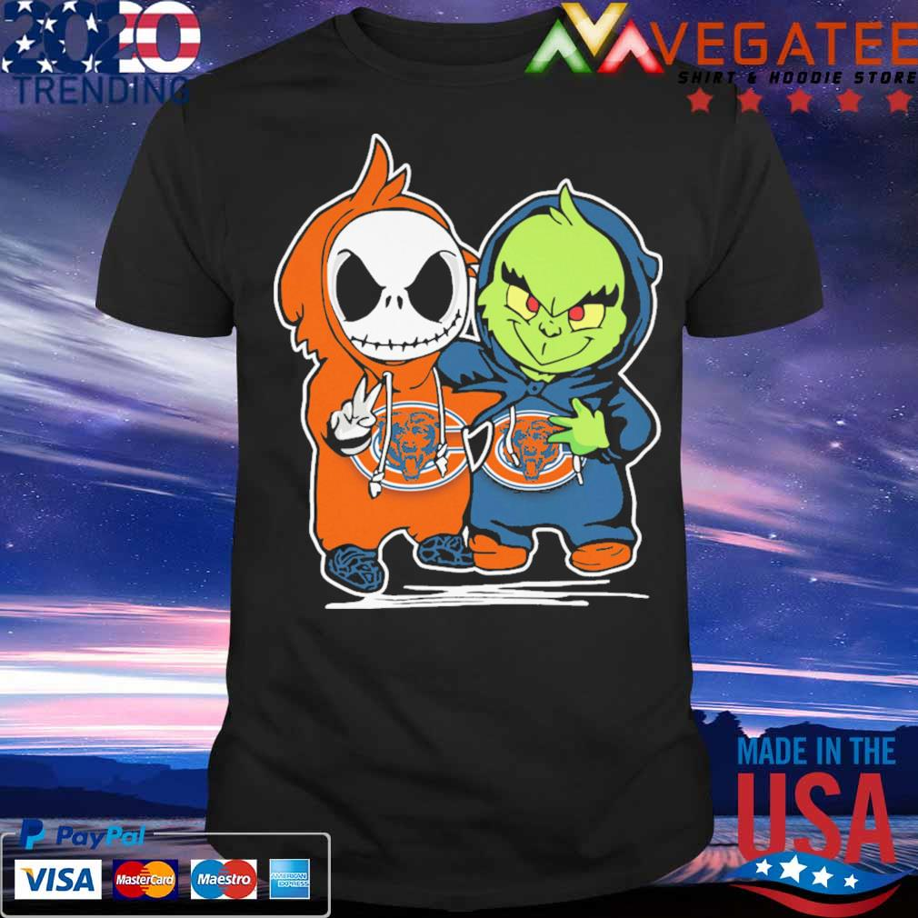 Baby Jack Skellington and Baby Grinch Chicago Bears shirt