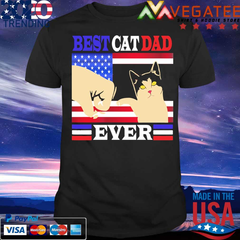 Best Cat Dad ever American flag shirt