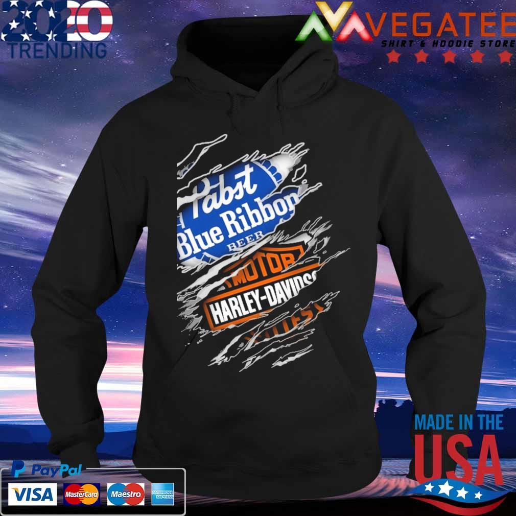 Blood inside me Motor Harley Davidson and Pabst Blue Ribbon beer s Hoodie