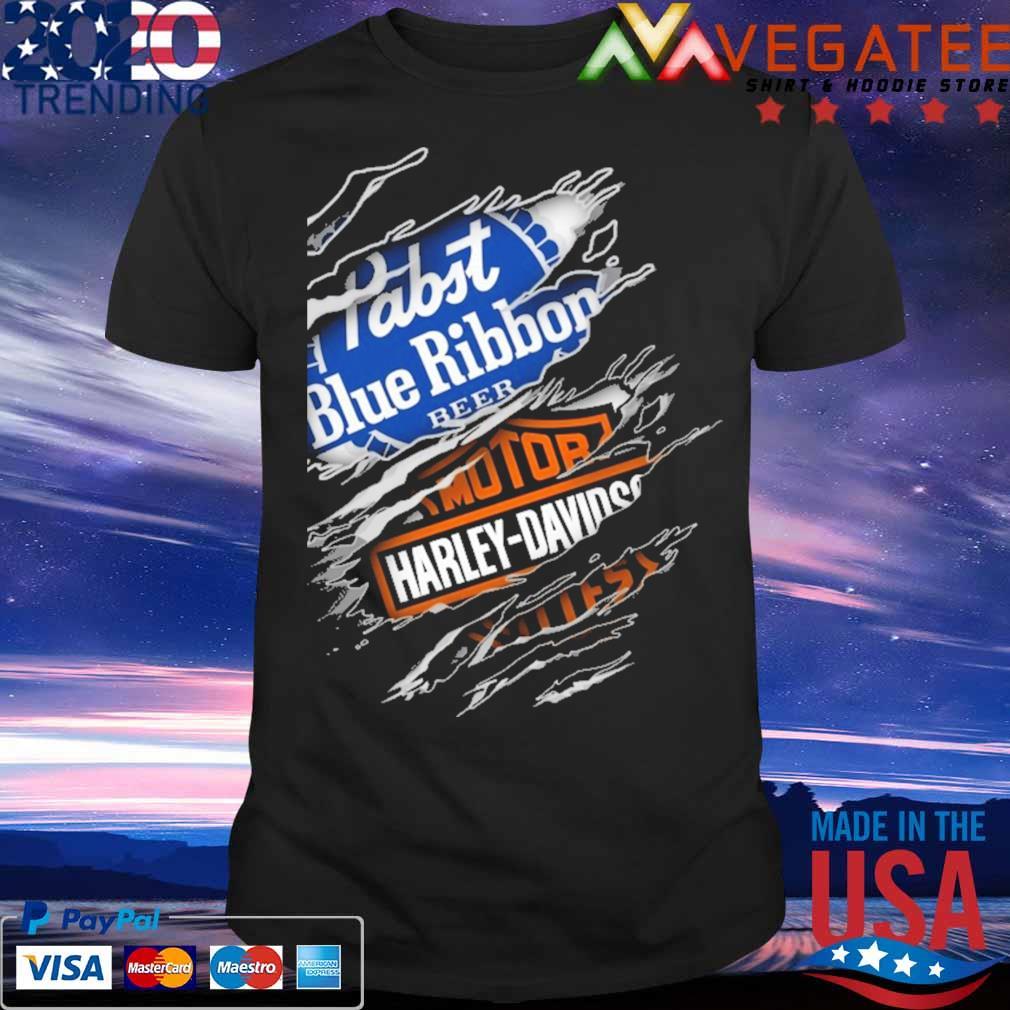 Blood inside me Motor Harley Davidson and Pabst Blue Ribbon beer shirt