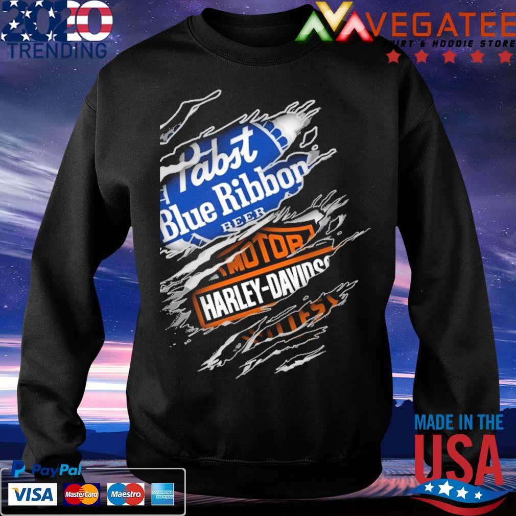 Blood inside me Motor Harley Davidson and Pabst Blue Ribbon beer s Sweatshirt