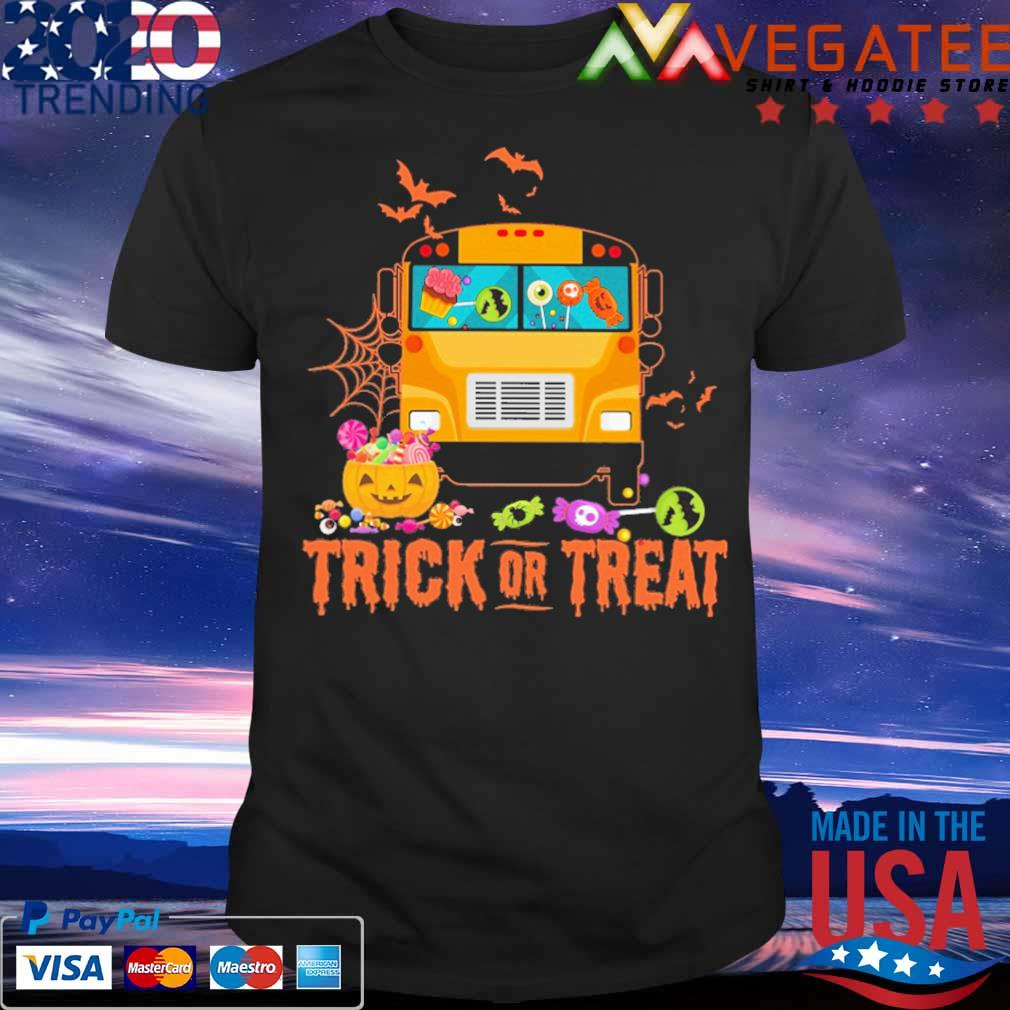 Bus Pumpkin Trick or Treat Halloween shirt