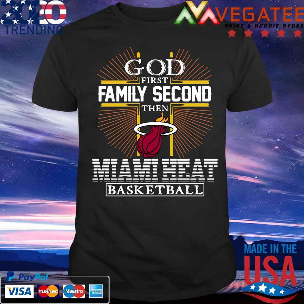God first Family second then Miami Heat Basketball cross red shirt