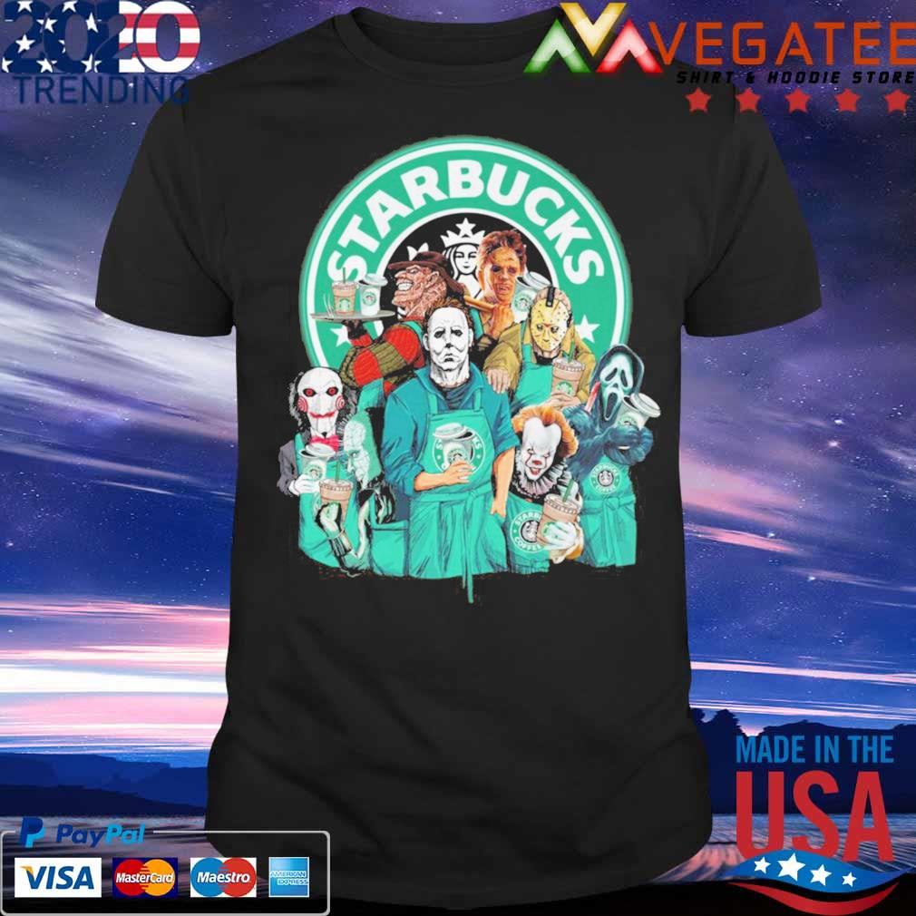 Horror movie character drink Starbucks Happy Halloween shirt