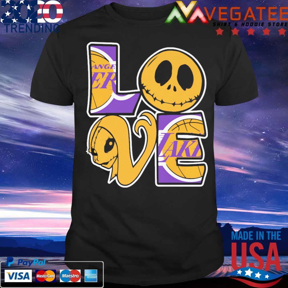 Jack Skellington and Sally love Los Angeles Lakers shirt