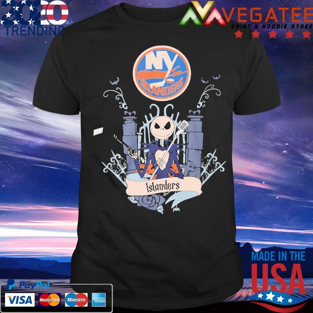 Jack Skellington The New York Islanders Happy Halloween Shirt Hoodie Sweater Long Sleeve And Tank Top