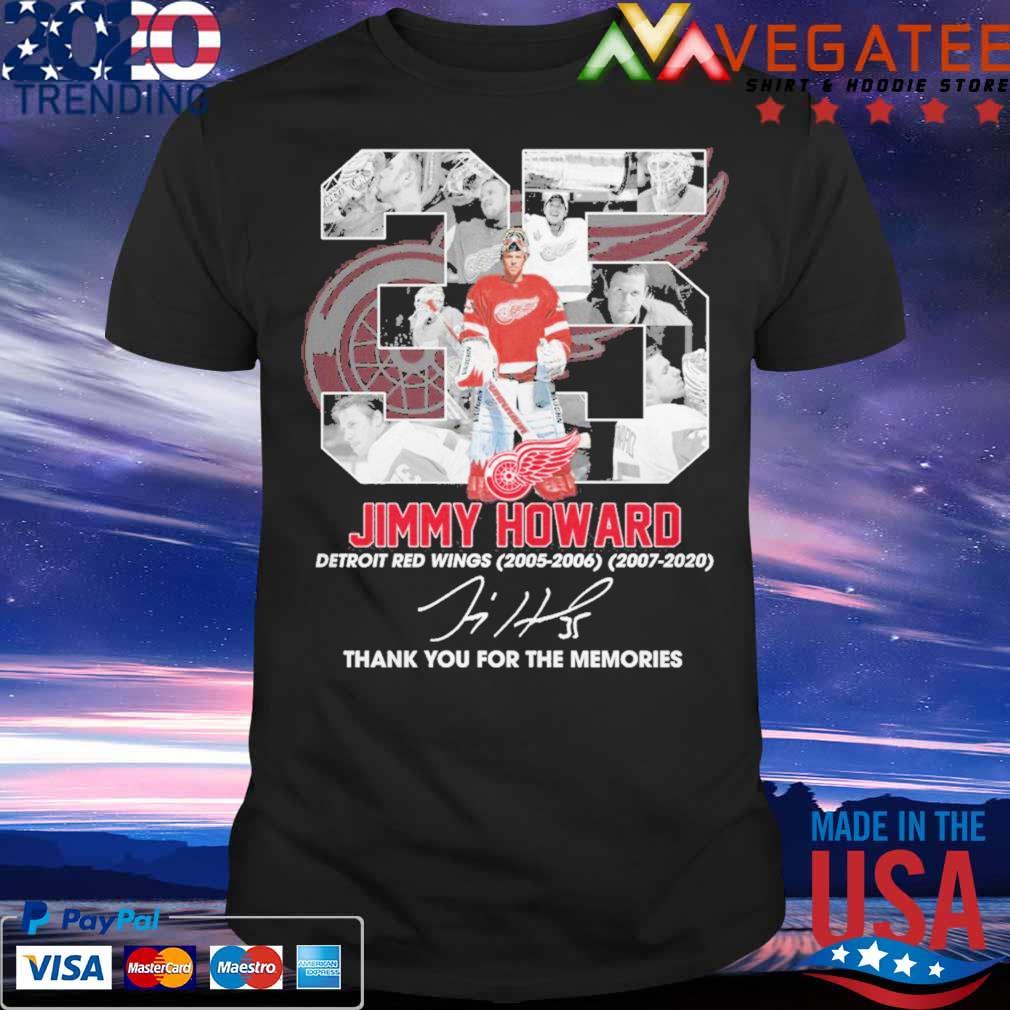 35 Jimmy Howard Detroit Red Wings 2005 2006 2007 2020 thank signature shirt