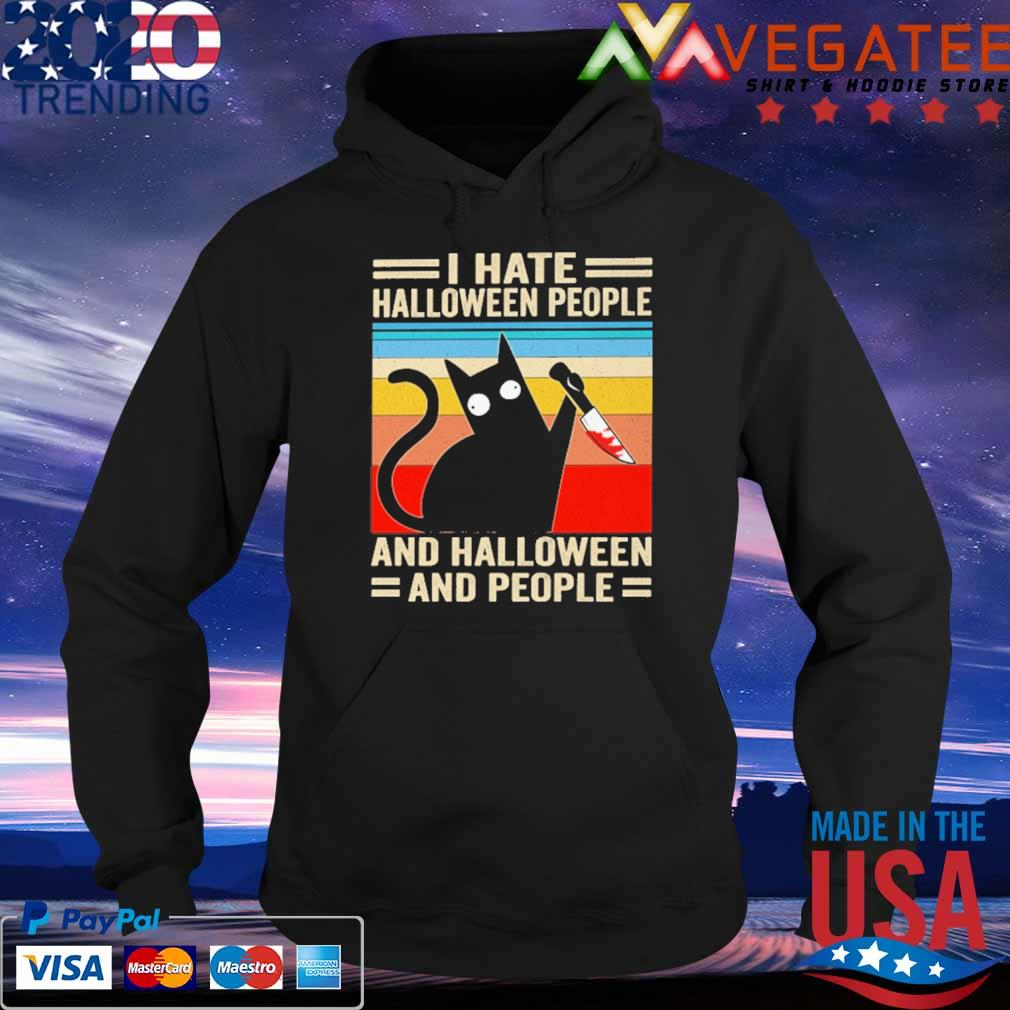 Michael Myers Black Cat I hate Halloween people and Halloween and people vintage retro s Hoodie