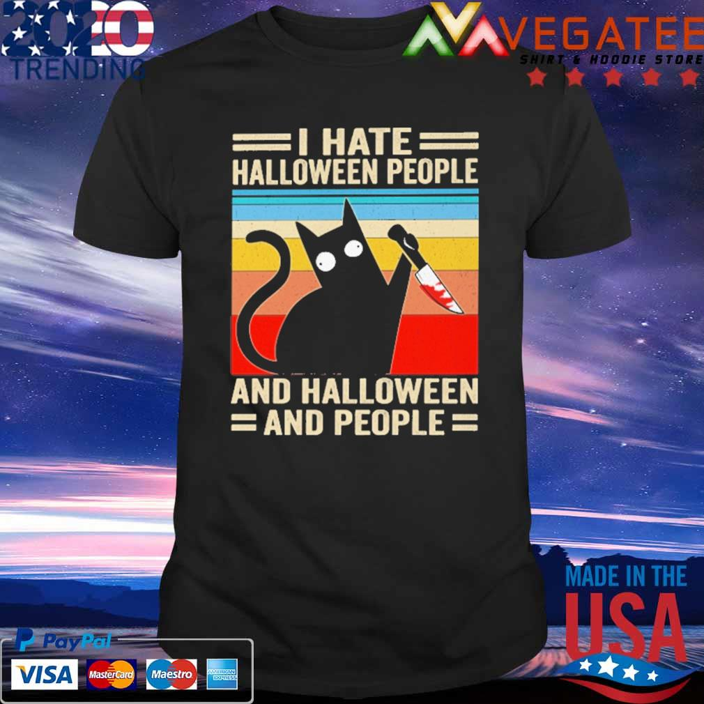 Michael Myers Black Cat I hate Halloween people and Halloween and people vintage retro shirt