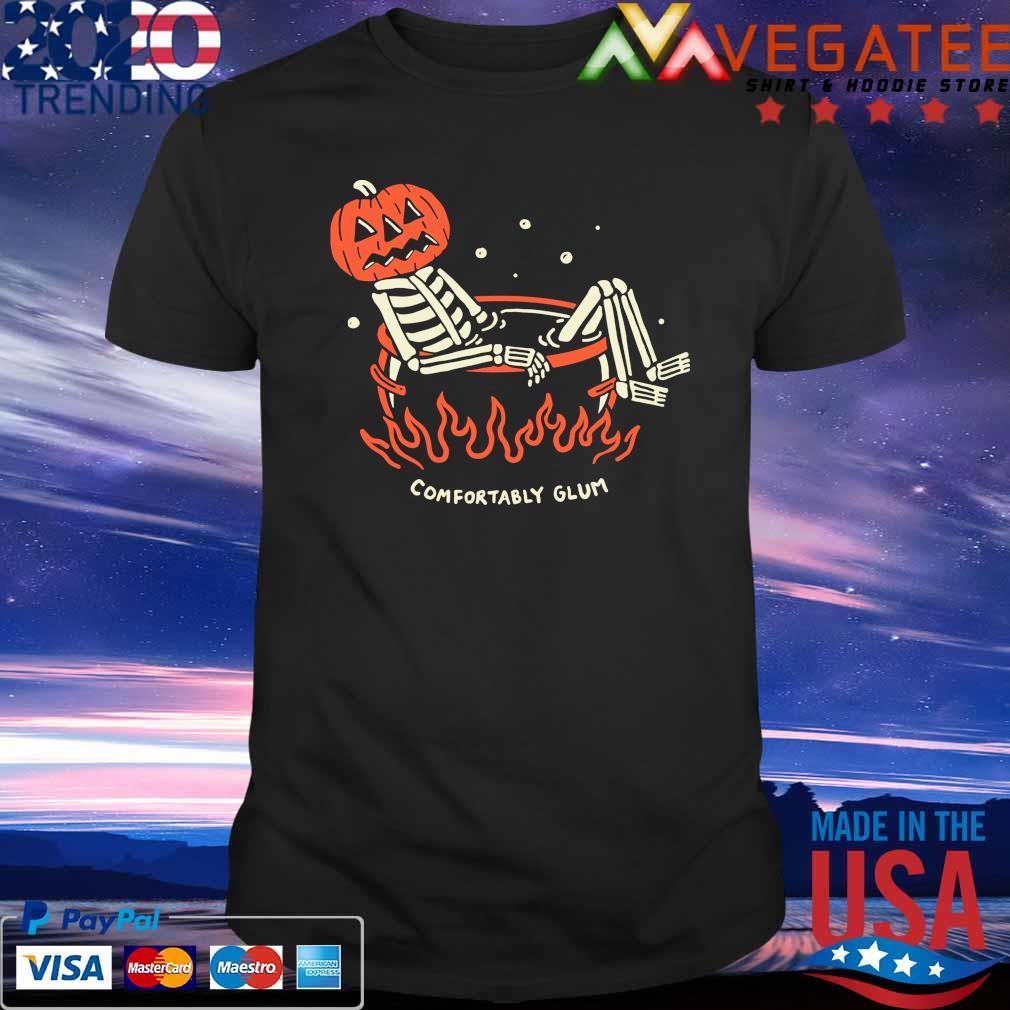Skeleton pumpkin comfortably glum Halloween shirt