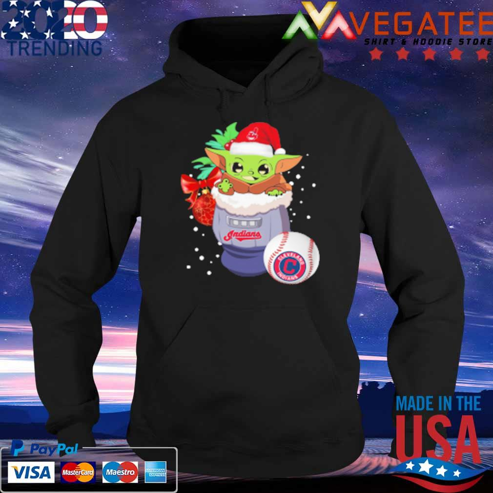 Cleveland Indians Christmas Baby Yoda Star Wars Funny Happy MLB T-Shirt Hoodie