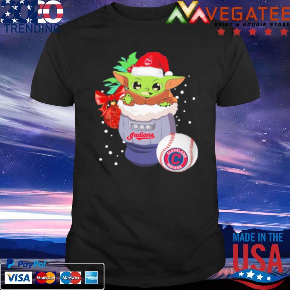 Cleveland Indians Christmas Baby Yoda Star Wars Funny Happy MLB T-Shirt