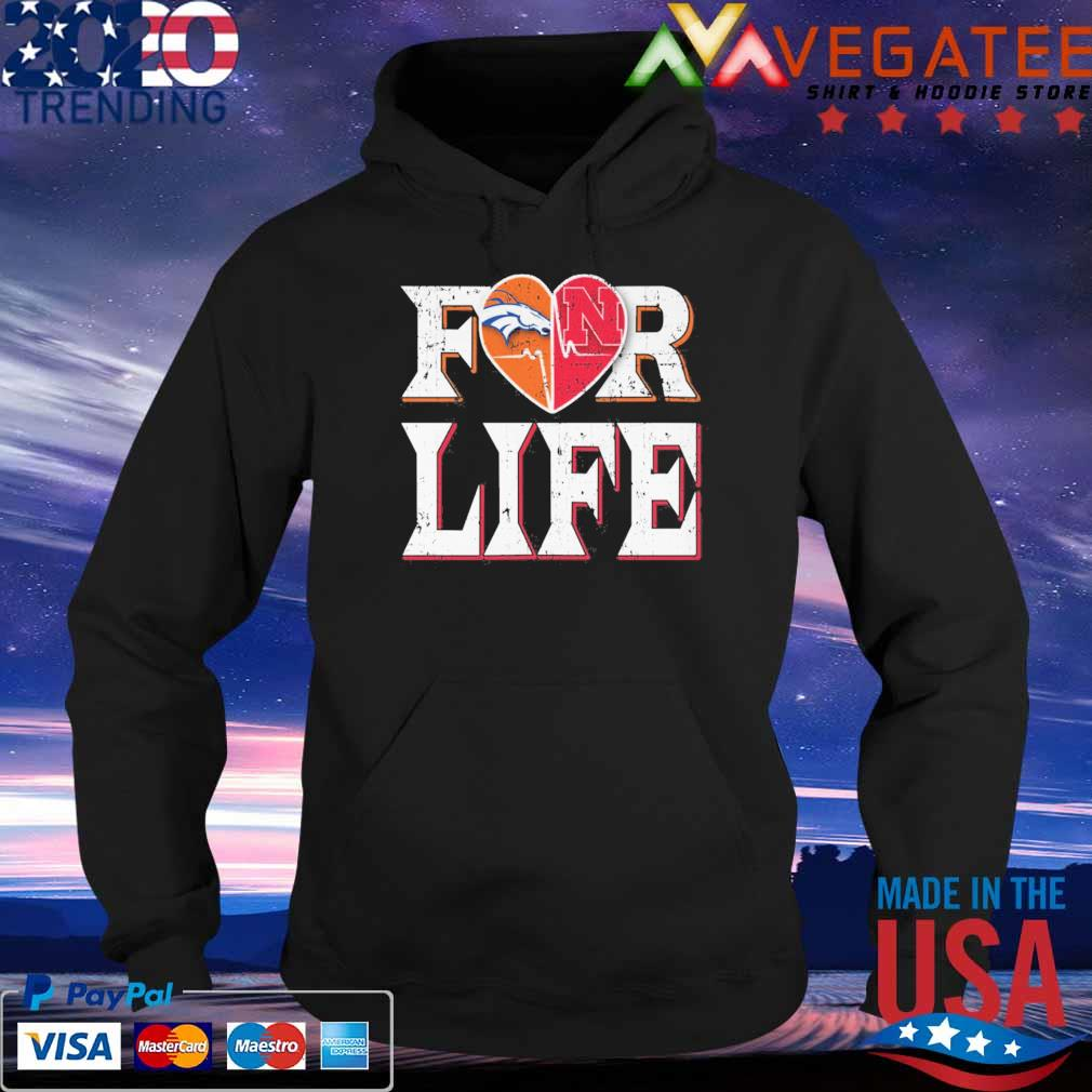 Denver Broncos vs Nebraska Cornhuskers heart for life s Hoodie