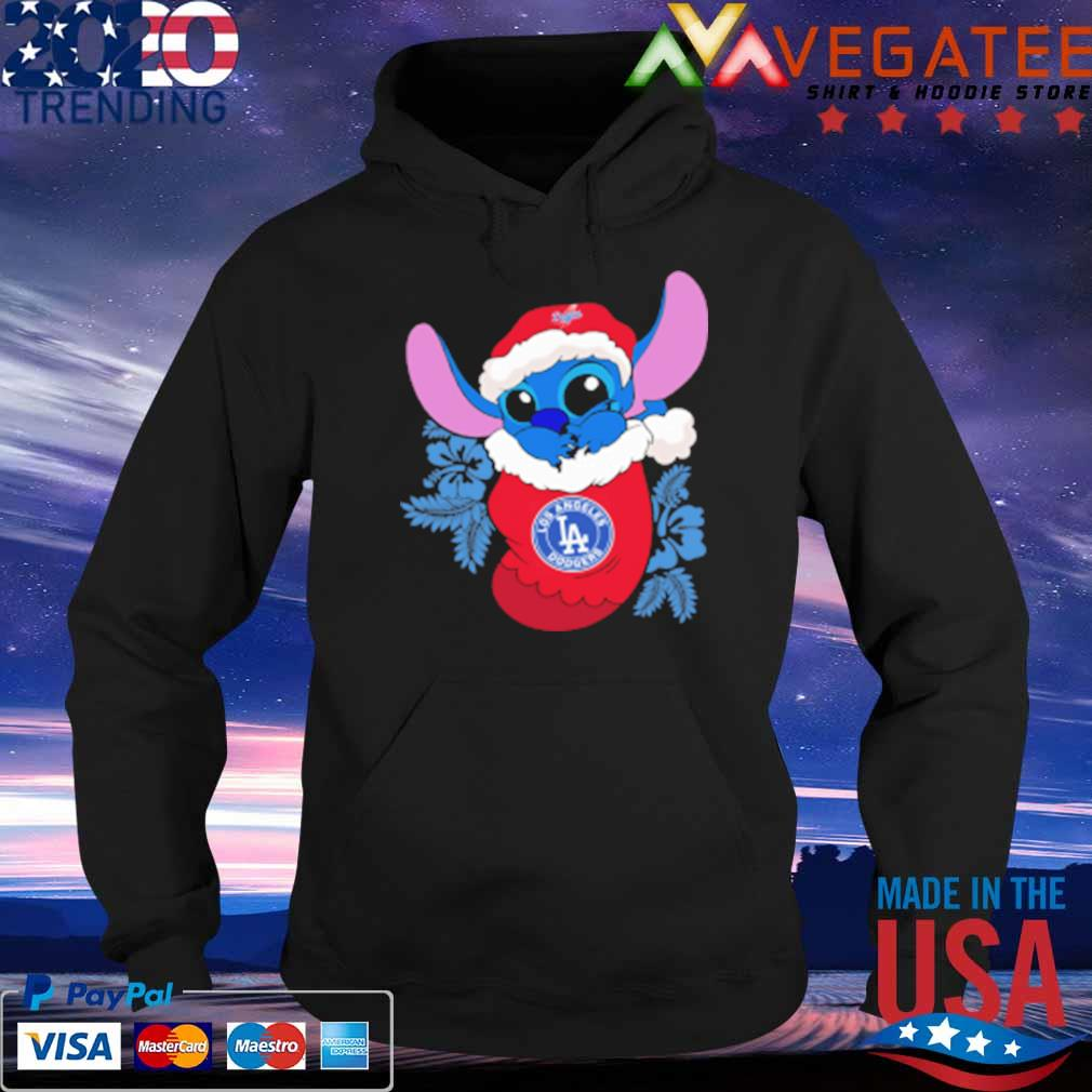 Los Angeles Dodgers Christmas Stitch In The Sock Funny Disney MLB Sweats Hoodie