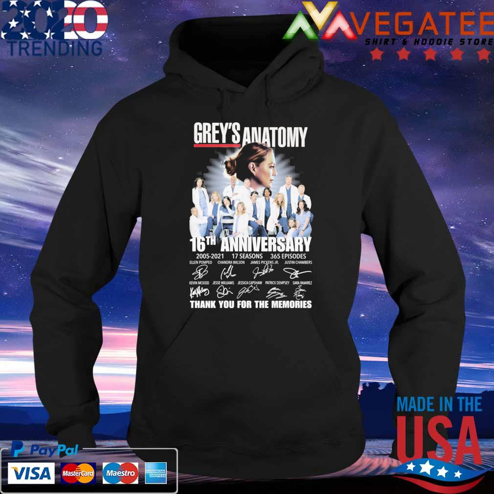 Official Grey's Anatomy 16th anniversary 2005 2021 17 Seasons 365 Episodes thank you for the memories signatures s Hoodie