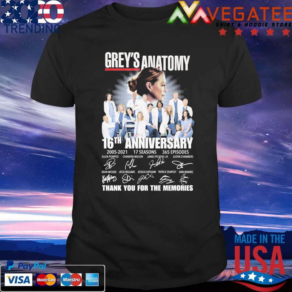 Official Grey's Anatomy 16th anniversary 2005 2021 17 Seasons 365 Episodes thank you for the memories signatures shirt