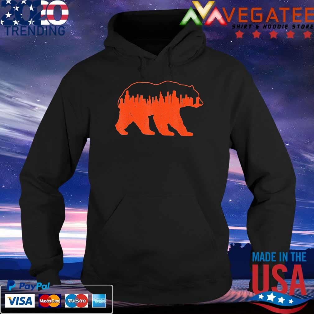 Vintage Downtown Chicago City Skyline Walking-Bear Novelty T-Shirt Hoodie