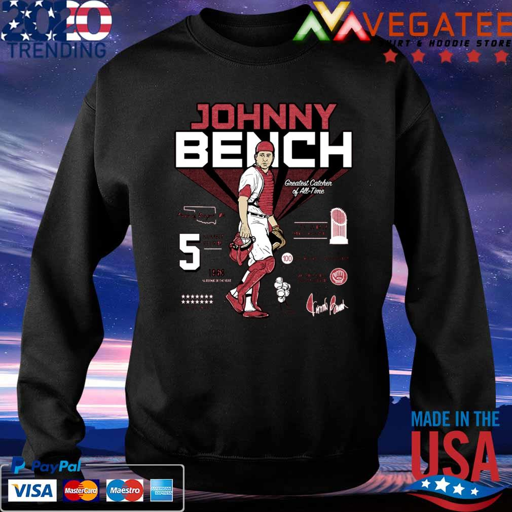 5 Johnny Bench Greatest Catcher of All-Time Pride of Binger signature s Sweatshirt