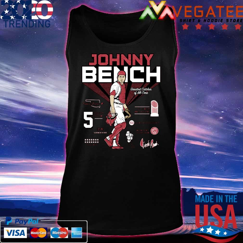 5 Johnny Bench Greatest Catcher of All-Time Pride of Binger signature s Tanktop