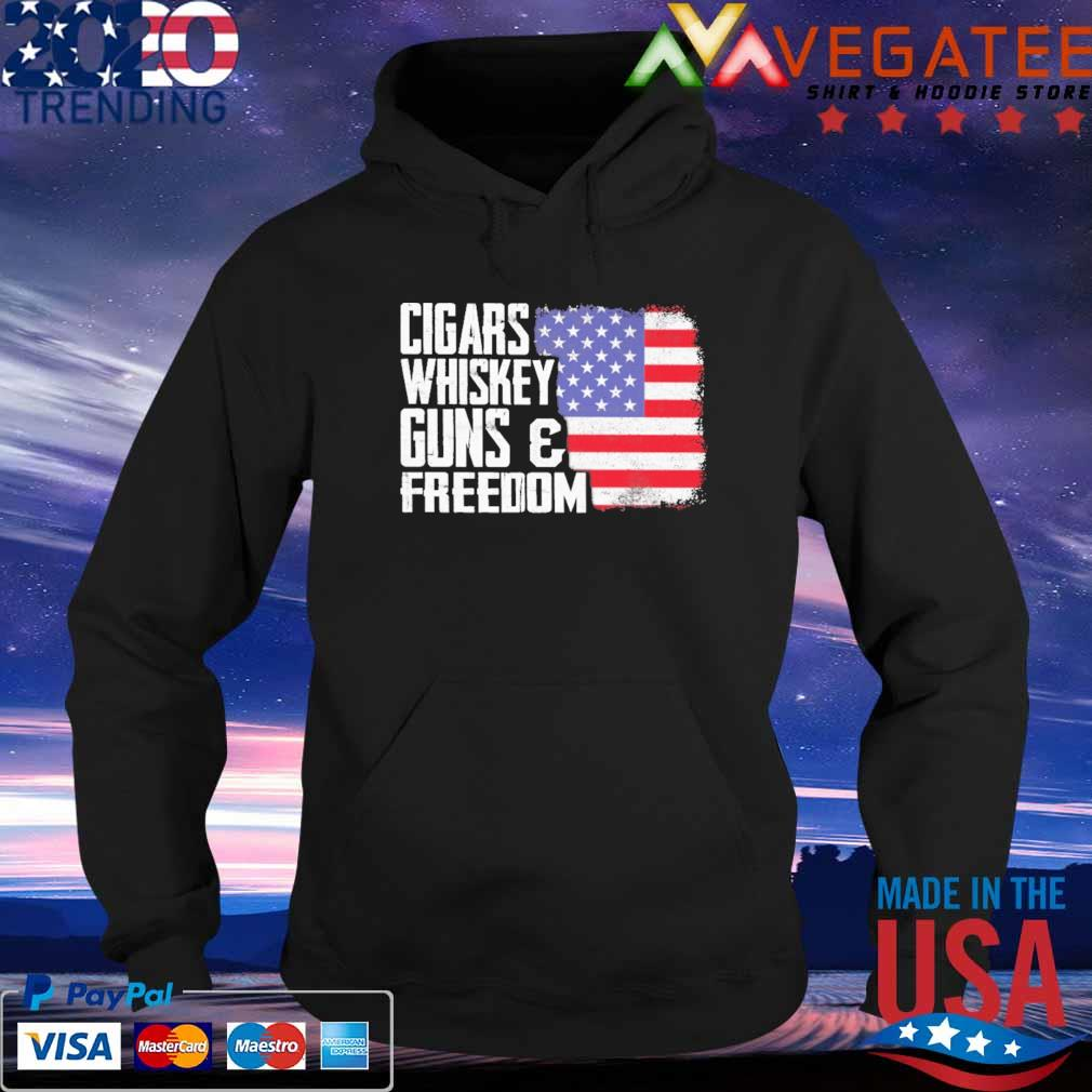 Official Cigars Whiskey Guns and Freedom American flag s Hoodie
