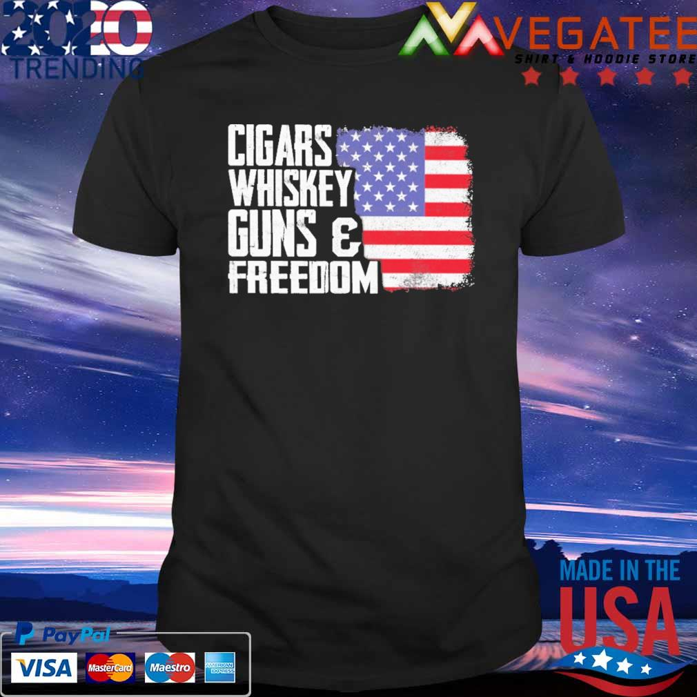 Official Cigars Whiskey Guns and Freedom American flag shirt