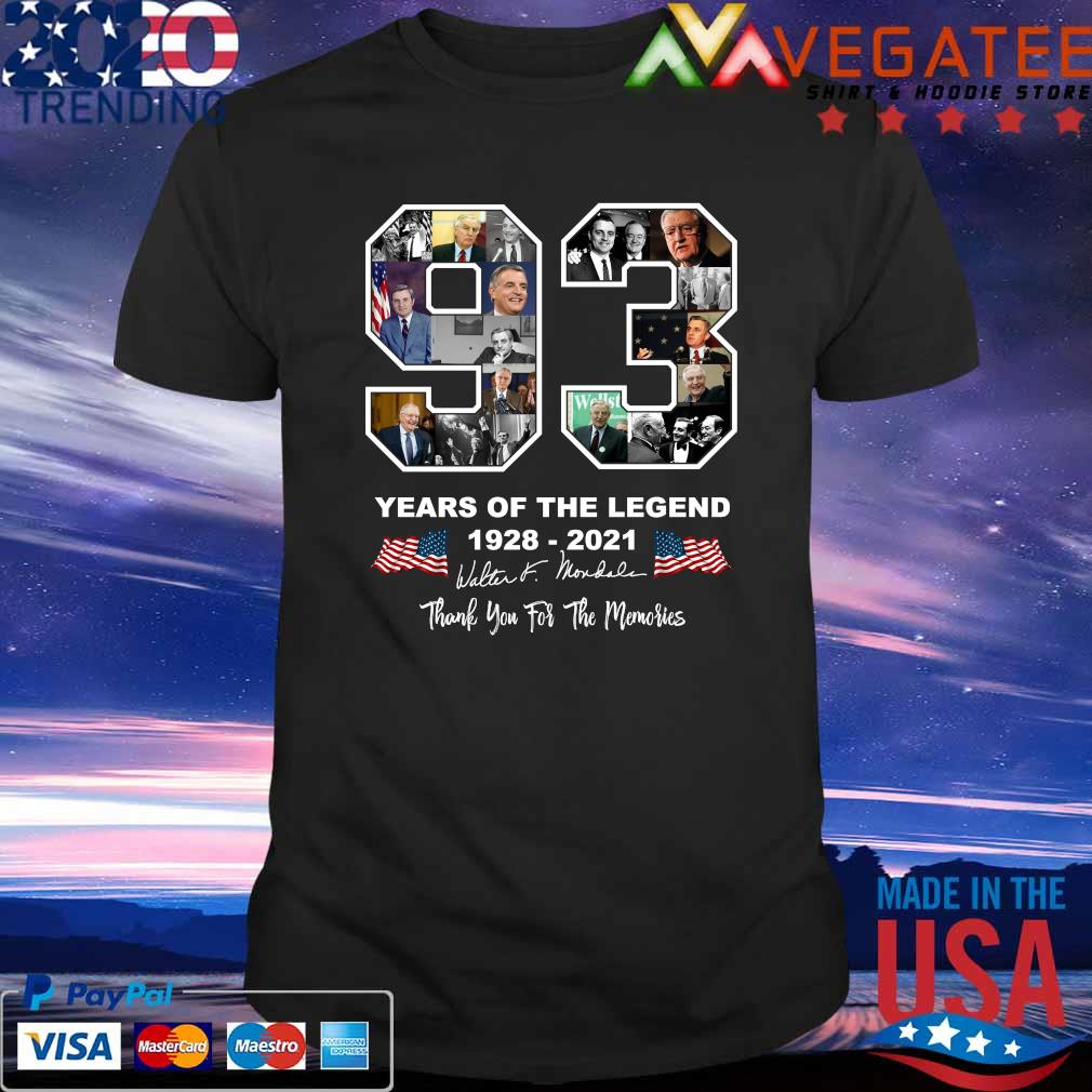 93 year of the legend Walter Mondale 1928 2021 thank you for the memories signatures shirt