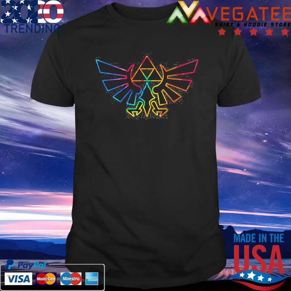Zelda hyrule crest tie dye outline shirt