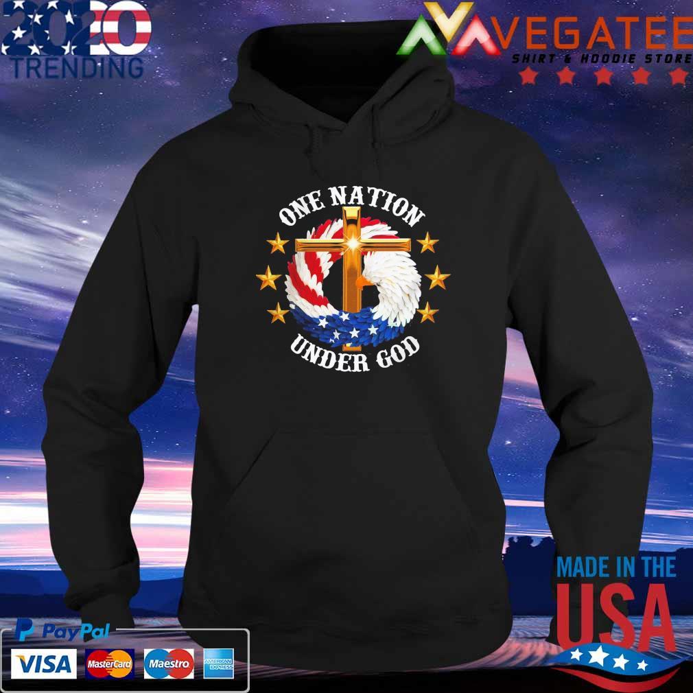 Eagles Cross American flag One nation Under god s Hoodie