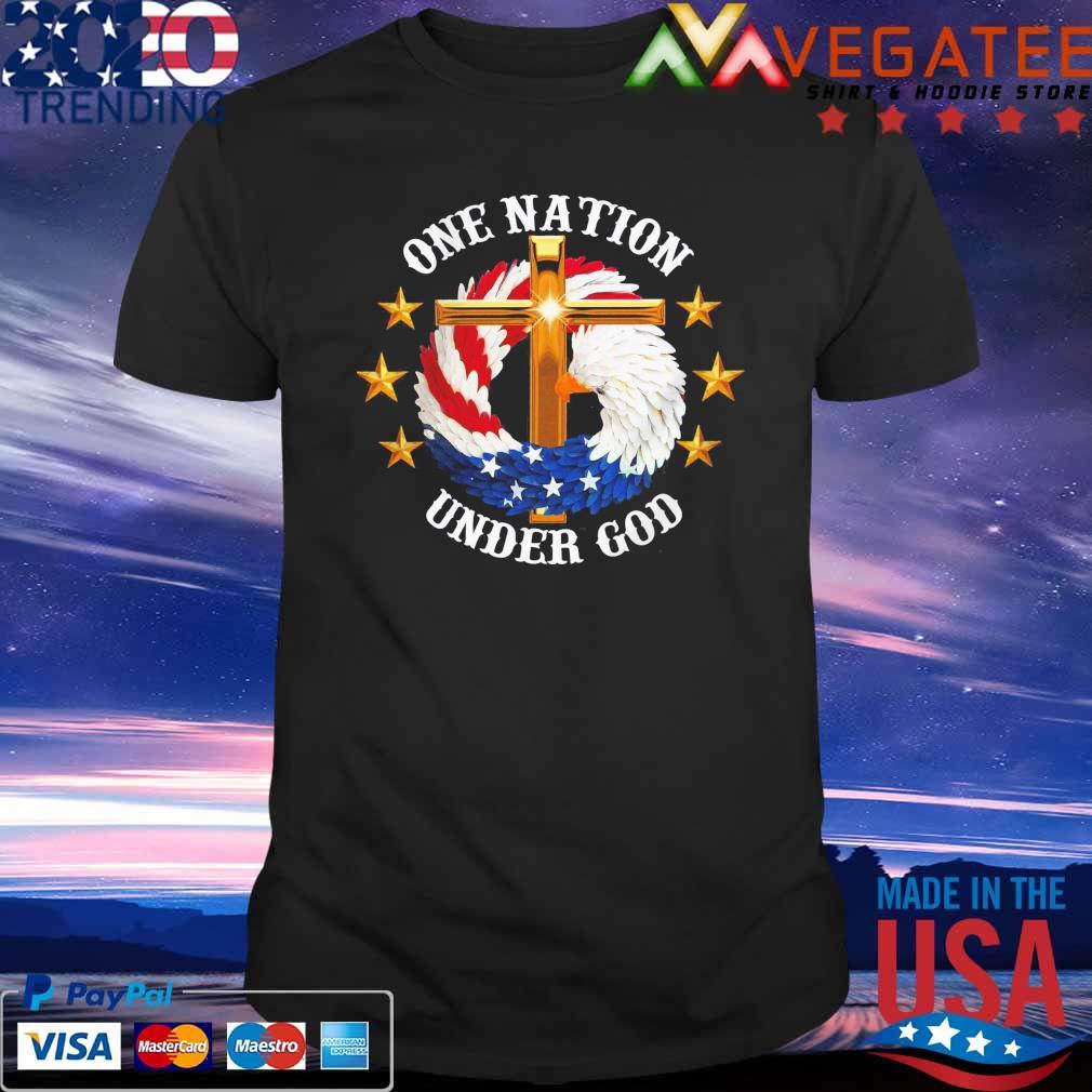 Eagles Cross American flag One nation Under god shirt