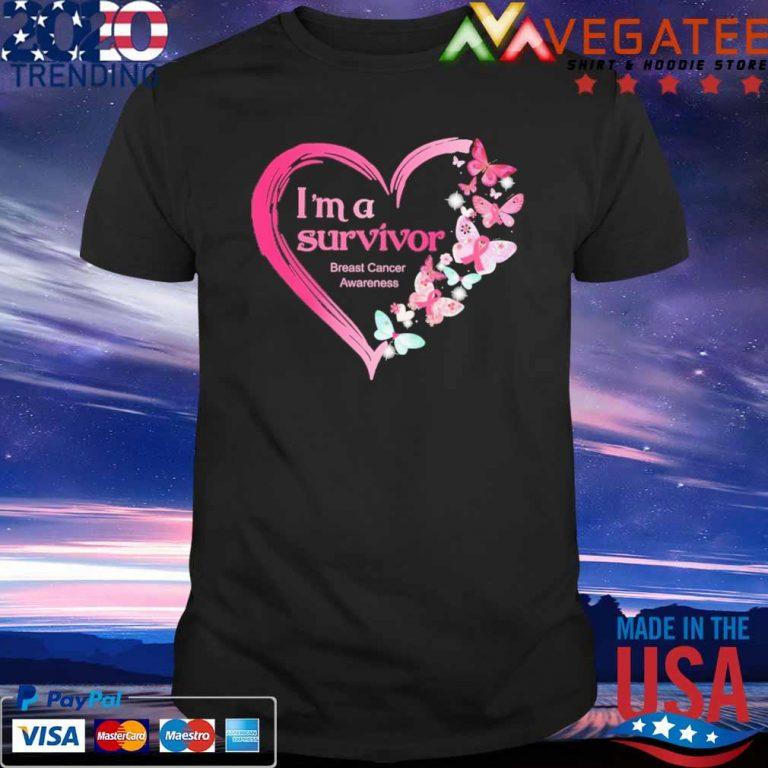 Official Heart Butterflies Pink I'm A Survivor Breast Cancer Awareness Shirt Masswerks Store