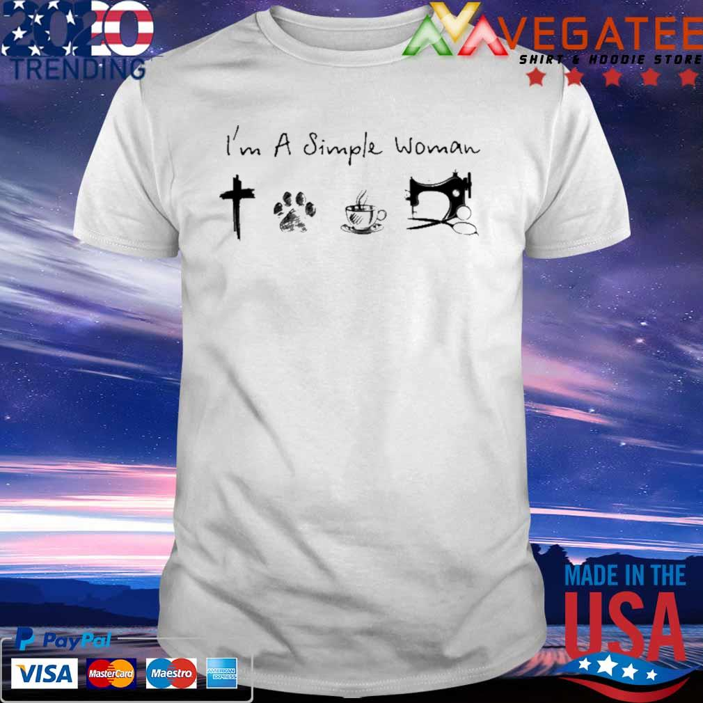 Official I'm A Simple Woman Cross Paw Coffee Sewing shirt